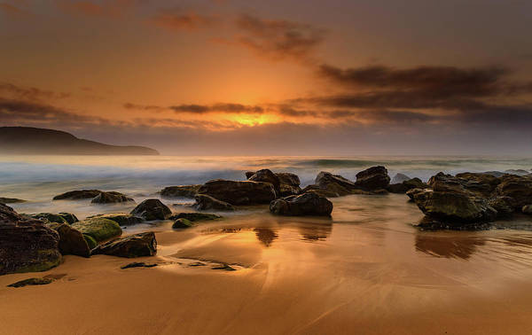 Killcare Photograph - Hazy Sunrise Seascape With Rocks by Merrillie Redden