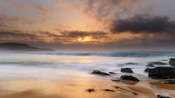 Killcare Photograph - Hazy Sunrise Seascape With Surf by Merrillie Redden