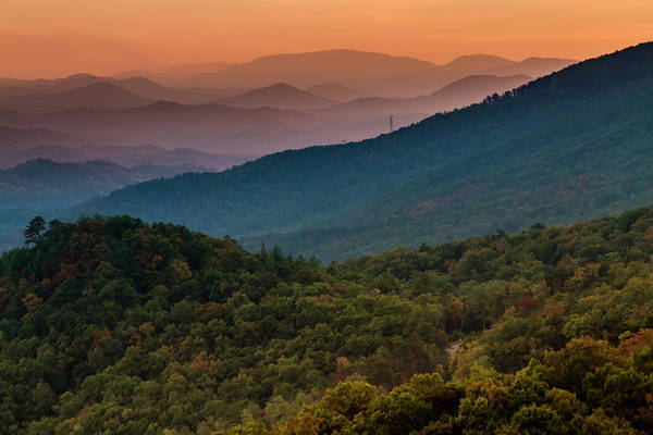Photograph - Hazy Sunset In The Smoky Mountains by Teri Virbickis
