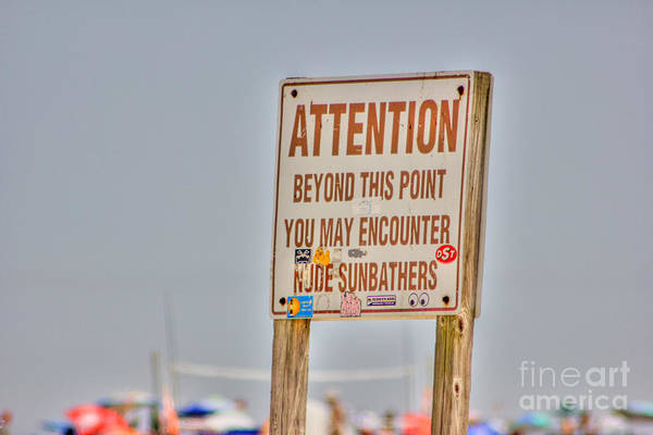 Sunbather Wall Art - Photograph - Hdr Sunbather Sign Beach Beaches Ocean Sea Photos Pictures Buy Sell Selling New Photography Pics  by Al Nolan