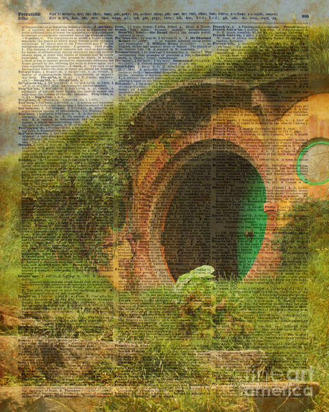 Wall Art - Digital Art - he Bag End Hobbit House Lord of the Rings Shire Illustration Dictionary Art by Anna W