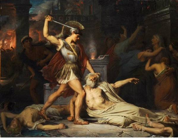 Wall Art - Painting - he Death of Priam by Jules Joseph