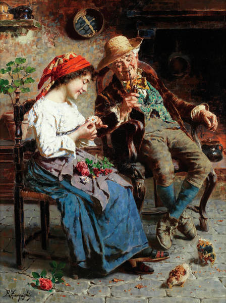 Rural Life Wall Art - Painting - He Loves Me, He Loves Me Not by Eugenio Zampighi