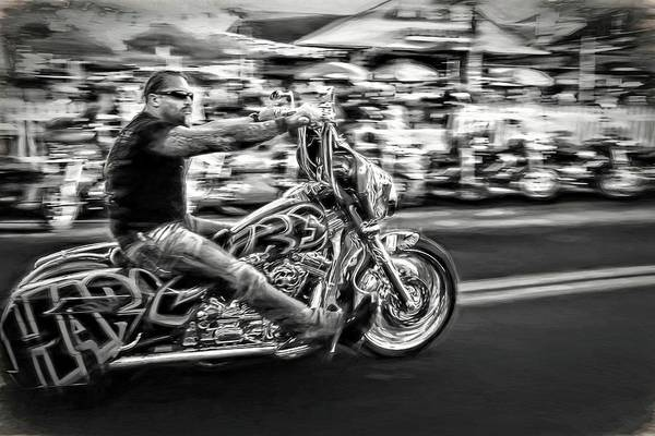 Daytona Bike Week Wall Art - Photograph - He Rides Blackwhite by Alice Gipson