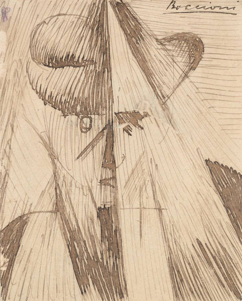 Boccioni Wall Art - Drawing - Head Against The Light  by Umberto Boccioni