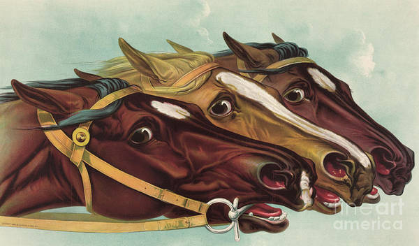 Wall Art - Painting - Head And Head At The Winning Post by Currier and Ives
