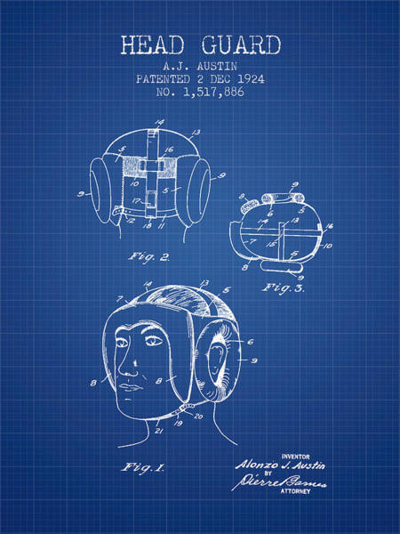 Wall Art - Digital Art - Head Guard Patent From 1924 - Blueprint by Aged Pixel