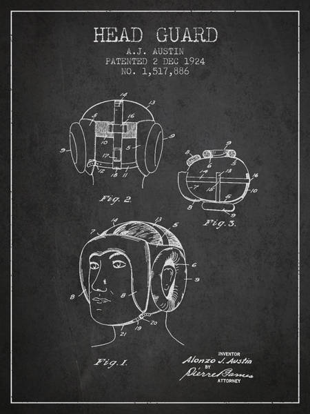 Wall Art - Digital Art - Head Guard Patent From 1924 - Charcoal by Aged Pixel