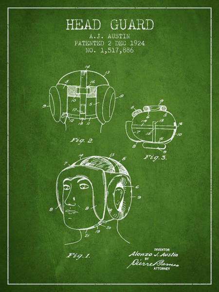 Wall Art - Digital Art - Head Guard Patent From 1924 - Green by Aged Pixel