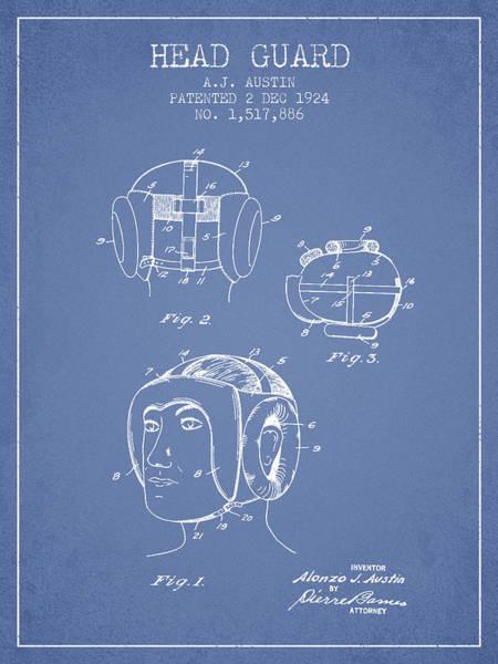 Wall Art - Digital Art - Head Guard Patent From 1924 - Light Blue by Aged Pixel