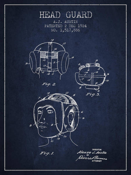Wall Art - Digital Art - Head Guard Patent From 1924 - Navy Blue by Aged Pixel