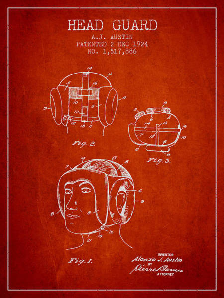 Wall Art - Digital Art - Head Guard Patent From 1924 - Red by Aged Pixel