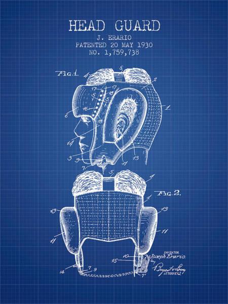 Wall Art - Digital Art - Head Guard Patent From 1930 - Blueprint by Aged Pixel