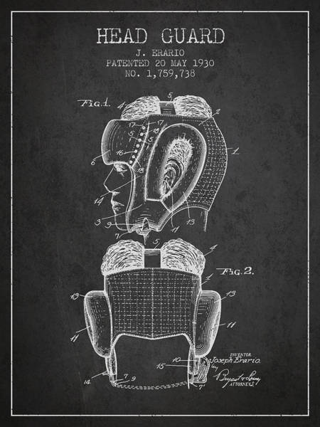 Wall Art - Digital Art - Head Guard Patent From 1930 - Charcoal by Aged Pixel
