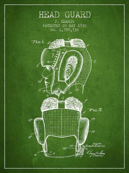 Wall Art - Digital Art - Head Guard Patent From 1930 - Green by Aged Pixel