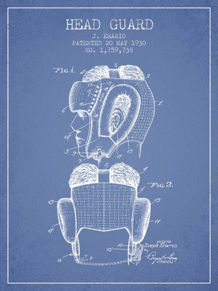 Wall Art - Digital Art - Head Guard Patent From 1930 - Light Blue by Aged Pixel