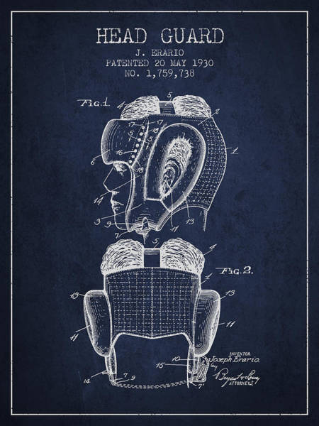 Wall Art - Digital Art - Head Guard Patent From 1930 - Navy Blue by Aged Pixel