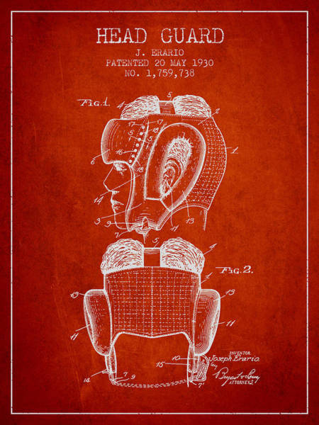 Wall Art - Digital Art - Head Guard Patent From 1930 - Red by Aged Pixel