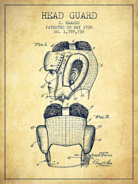Wall Art - Digital Art - Head Guard Patent From 1930 - Vintage by Aged Pixel
