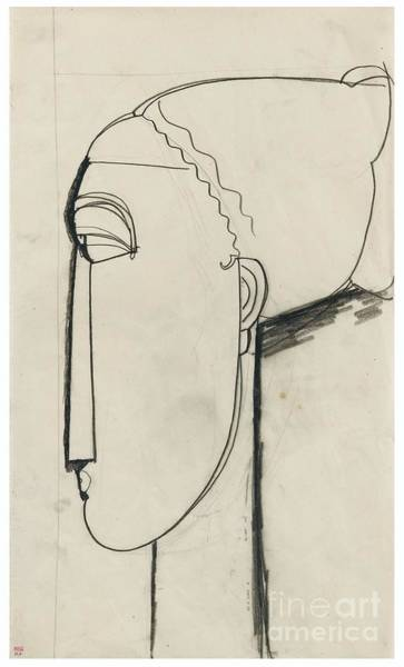 Wall Art - Painting - Head In Left Profile Chignon by Celestial Images
