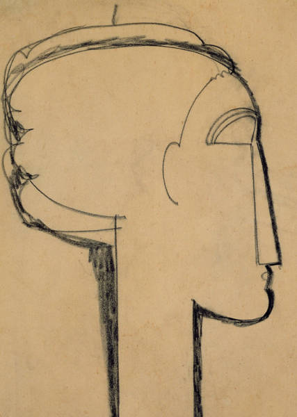 Bold Drawing - Head In Profile by Amedeo Modigliani