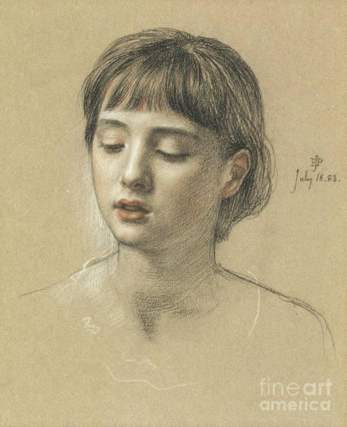 Pastel Pencil Drawing - Head Of A Girl, 1883 by Edward John Poynter