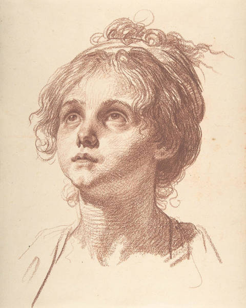 Jeans Drawing - Head Of A Girl Looking Up by Jean-Baptiste Greuze