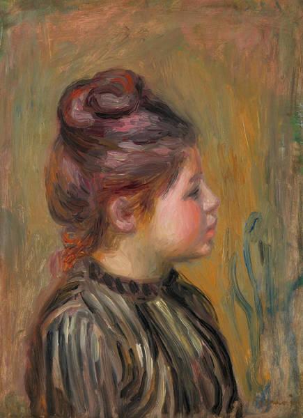 People Watching Painting - Head Of A Girl by Pierre-Auguste Renoir