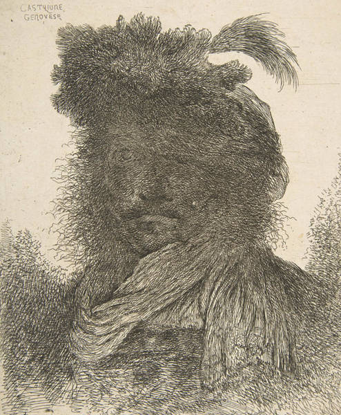 Turn Of The Century Wall Art - Relief - Head Of A Man In Shadow Turned Slightly To The Left by Giovanni Benedetto Castiglione