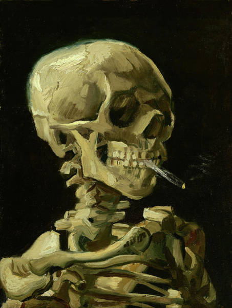 Painting - Head Of A Skeleton With A Burning Cigarette Van Gogh 1885 by Vincent Van Gogh