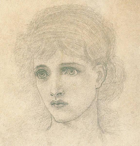 Beautiful Girl Drawing - Head Of A Woman by John Melhuish Strudwick