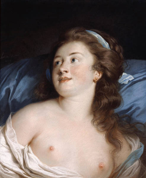 Chestnut Hair Drawing - Delightful Surprise by Adelaide Labille-Guiard