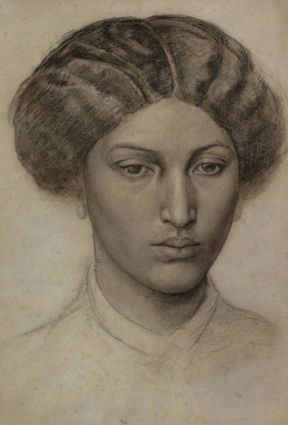 Drawing - Head Of A Young Woman by Dante Gabriel Rossetti