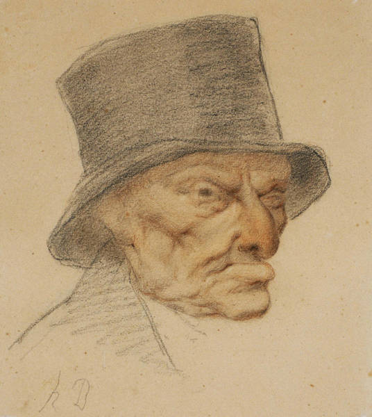 French Artist Drawing - Head Of An Old Man by Honore Daumier