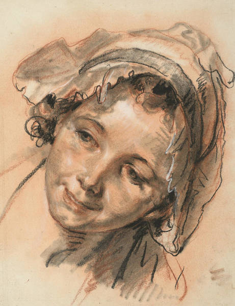 Jeans Drawing - Head Of Smiling Girl by Jean-Baptiste Greuze