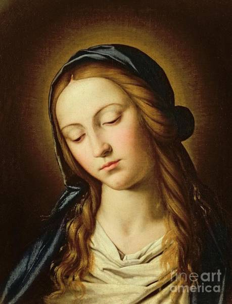 Immaculate Conception Wall Art - Painting - Head Of The Madonna by Il Sassoferrato