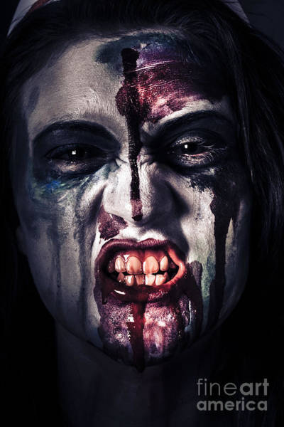 Demon Photograph - Head Shot On A Pure Evil Zombie Girl by Jorgo Photography - Wall Art Gallery