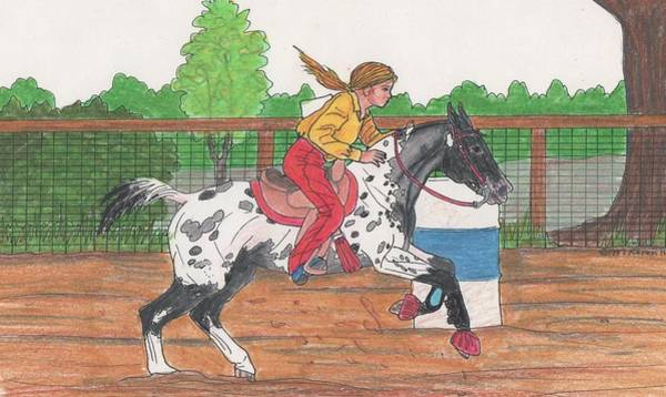 Appaloosa Drawing - Heading Home by Karen Hesse