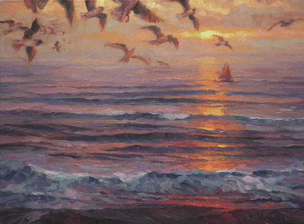 Gull Painting - Heading Home by Steve Henderson