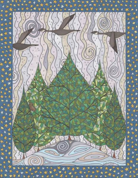 Evergreen Trees Drawing - Heading South by Pamela Schiermeyer