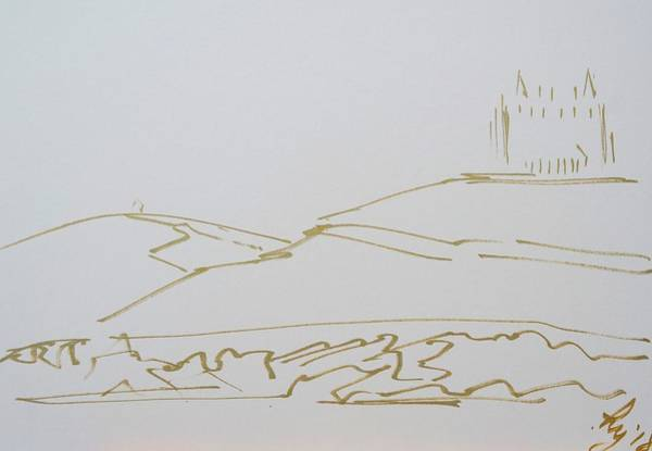 Drawing - Headland Hotel At Fistral Beach In Cornwall by Mike Jory