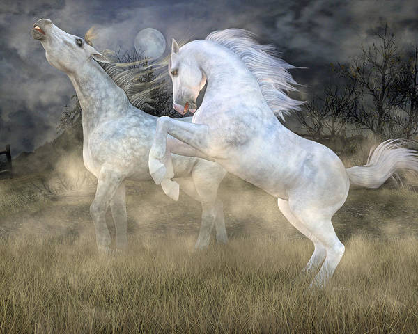 White Horse Digital Art -  Headless Horseman Haunting On The Hill by Betsy Knapp