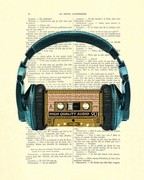 Wall Art - Digital Art - Blue Headphone And Yellow Cassette Collage Print by Madame Memento