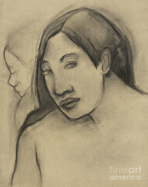 Pastel - Heads Of Tahitian Women, Frontal And Profile Views by Paul Gauguin