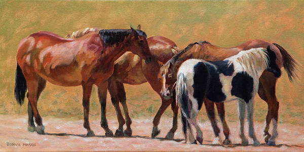 Horse Head Painting - Heads Or Tails by Bonnie Mason