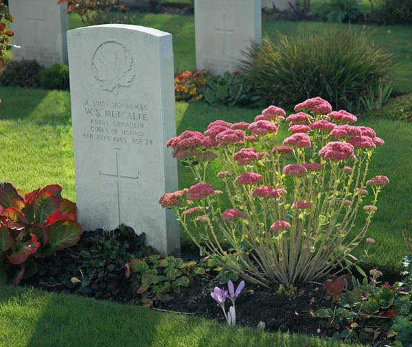 Photograph - Headstone Of Canadian Soldier Metcalfe by Ginger Wakem