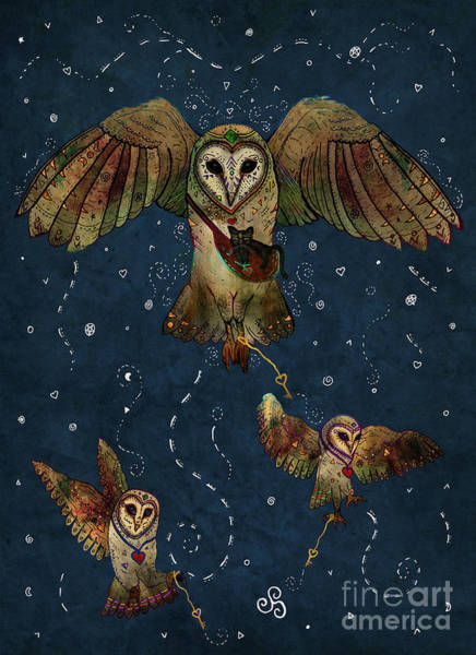 Barn Owl Mixed Media - Healers Of Light by Francesca Rizzato