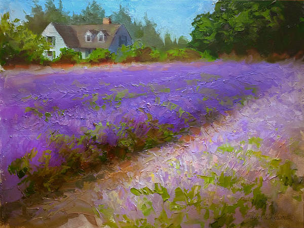 Wall Art - Painting - Impressionistic Lavender Field Landscape Plein Air Painting by Karen Whitworth