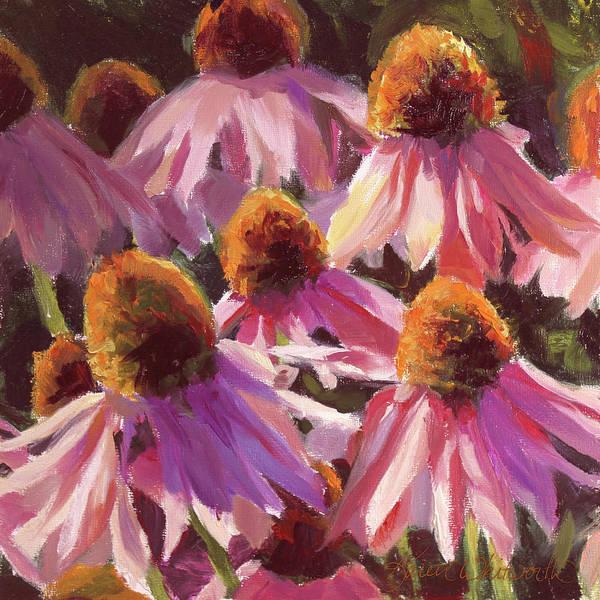 Wall Art - Painting - Healing Light Echinacea Cone Flowers by Karen Whitworth