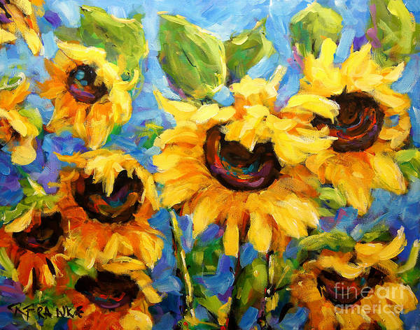 T-shirts Painting - Healing Light Of Sunflowers by Richard T Pranke